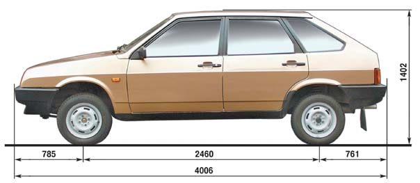 Габаритные размеры ВАЗ 2109 (изображение 1)