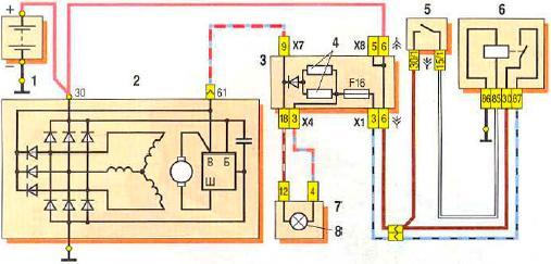 Схема подключения генератора 37.3701 автомобиля ВАЗ 2109 с монтажным блоком 2114-3722010-60