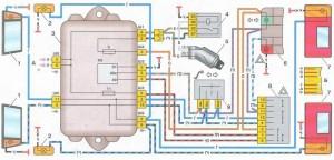 Электрическая схема указателей поворотов ВАЗ 2109 (низкая панель)