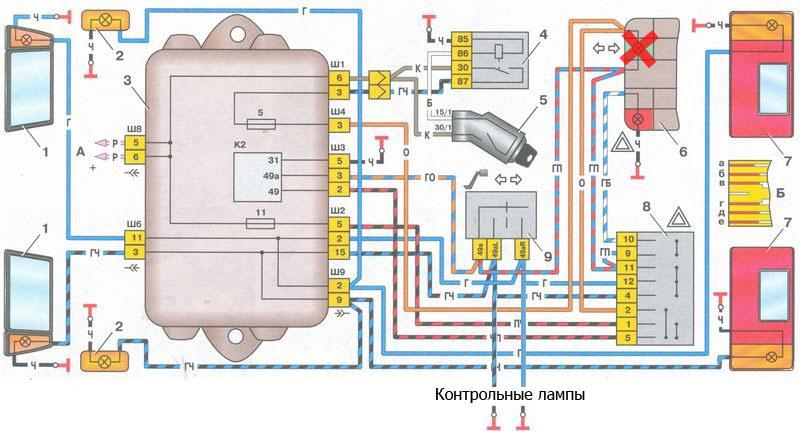 Электрическая схема указтелей