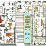 Электрическая схема ВАЗ 2108, 2109, 21099 с «высокой» панелью приборов, исполнения «люкс»
