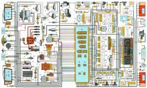 Электрическая схема ВАЗ 2108, 2109, 21099 с высокой панелью приборов