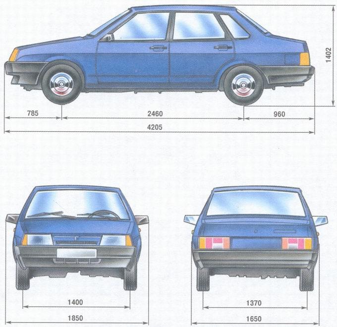 Габаритные размеры автомобия ВАЗ 21099