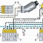 Схема подключения электростеклоподъемников на автомобилях с монтажным блоком старого образца (17.3722)