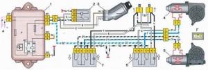 Схема подключения электростеклоподъемников на ВАЗ 2109 с монтажным блоком 17.3722