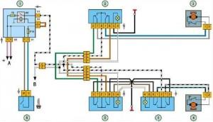 Схема подклчюения электростеклоподъемников на ВАЗ 2109 с монтажным блоком 2114-3722010-60
