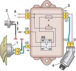 Схема включения вентилятора охлаждения ВАЗ 2109 (монтажный блок 17.3722)