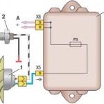 Схема включения вентилятора охлаждения (монтажный блок 2114-3722010-60)