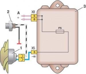 Схема включения вентилятора ВАЗ 2109 (монтажный блок 2114-3722010-60)