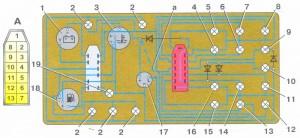 Схема комбинации приборов ВАЗ 2109 с низкой панелью